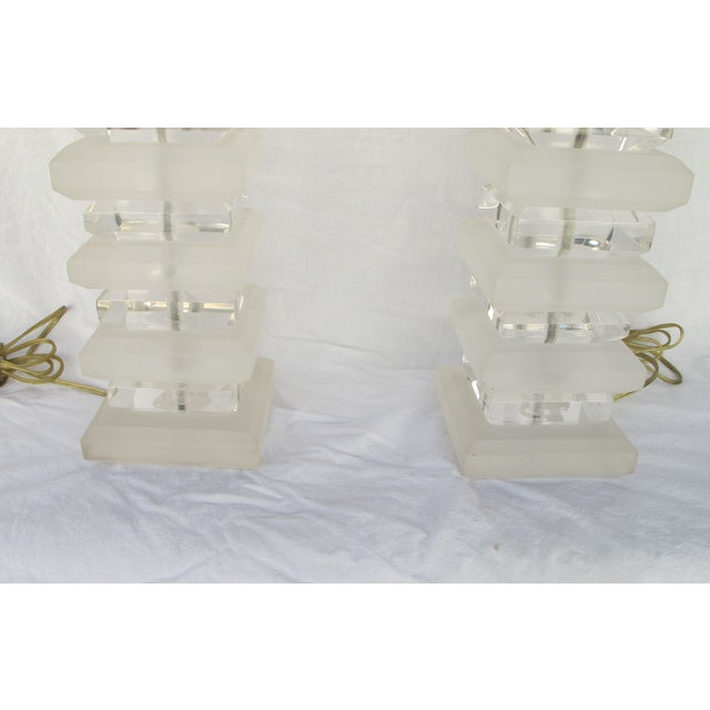 Mid-Century Layered Lucite Table Lamps - A Pair - Image 5 of 6