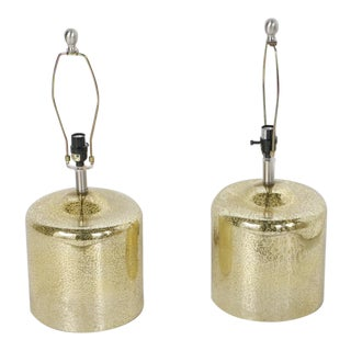 Gold Table Glass Lamps - A Pair