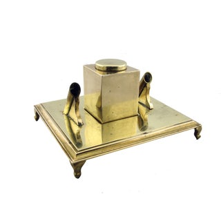 Italian Brass Pen Desk Set