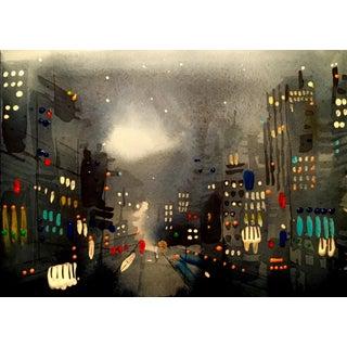 """City Nights"" Original Watercolor & Acrylic Painting"