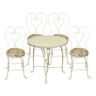 White Iron Floral Patio Table & Chairs - Set of 5