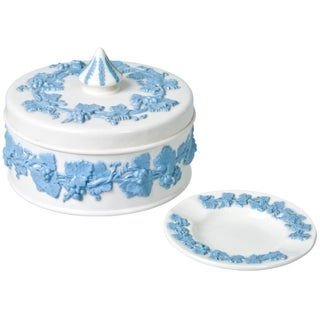Wedgwood Queen's Ware Lidded Box & Ashtray