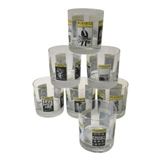 Broadway Playbill Cocktail Glasses - Set of 7