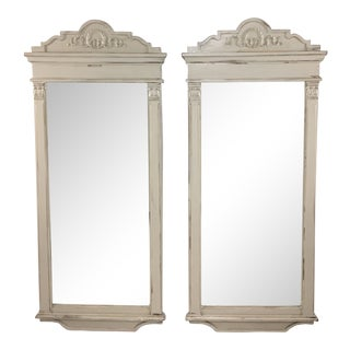1950s Empire Style Gustavian Gray Mirrors – a Pair