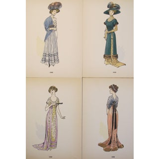 Original 1908 French Fashion Plates, Set of 4