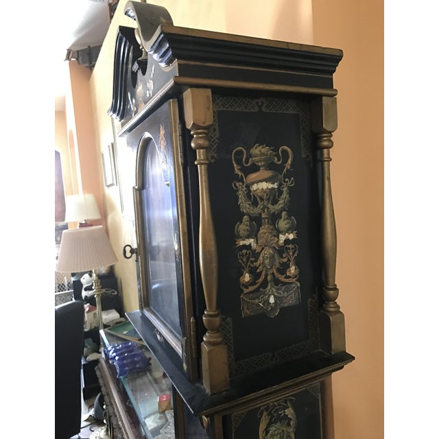 Asian Black Grandfather Clock Hand Painted With Pearl Inlay - Image 5 of 11