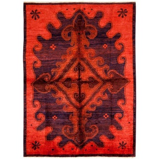 "Vibrance, Hand Knotted Beni Ourain Moroccan Red Wool Area Rug - 6' 3"" X 8' 8"""