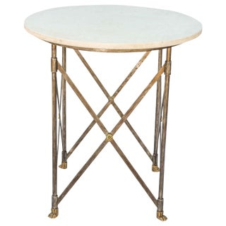 Neoclassical Iron Table with Marble Top