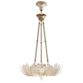 Vintage Murano Glass Pendant Chandelier In The Manner of Archimede Seguso