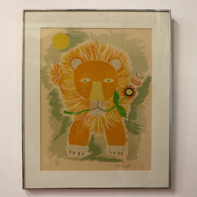 Lion & Butterfly Lithograph by Henri Maik - Image 2 of 7