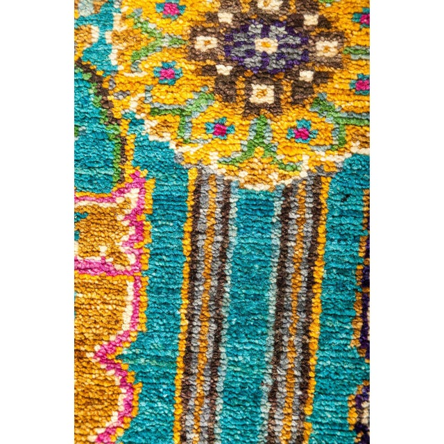 Eclectic, Hand Knotted Turquoise Floral Wool Area Rug