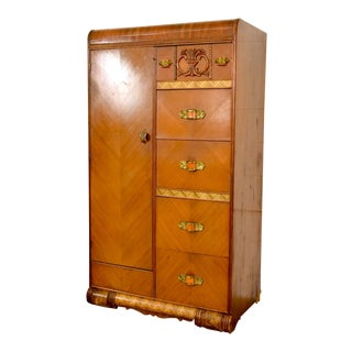 Antique Art Deco Walnut Armoire Dresser