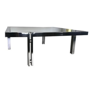 Maison Jansen Vintage Chrome & Glass Coffee Table