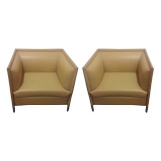 Knoll Leather Lounge Chairs - Set of 2