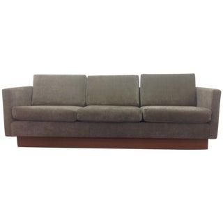 Mid Century Modern Grey Velvet Sofa