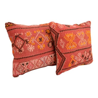 Vintage Turkish Kilim Pillow Covers - A Pair