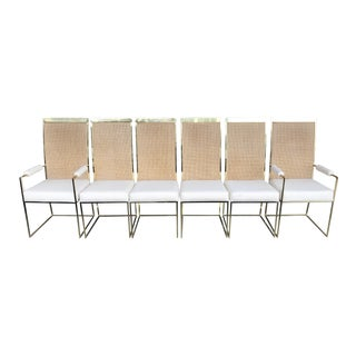 Milo Baughman Cane and Brass Dining Chairs - Set of 6