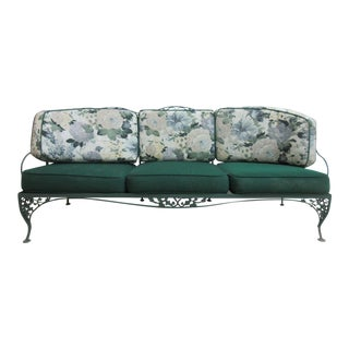 Vintage Green Woodard Acorn Outdoor Sofa