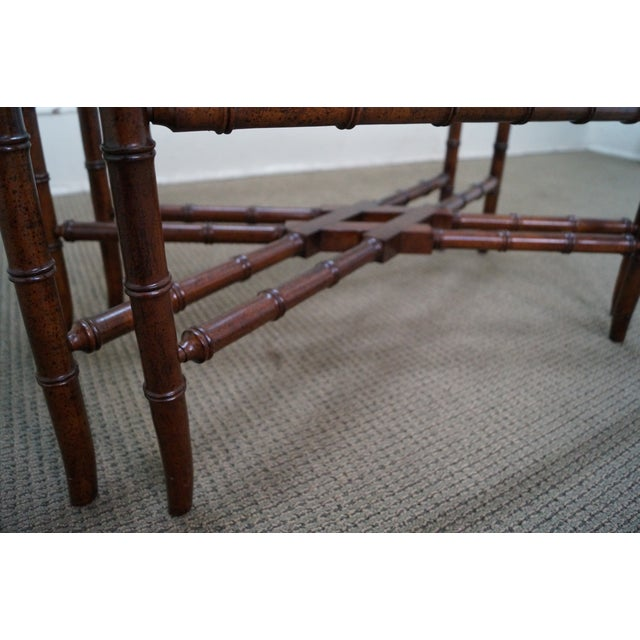 Image of Faux Bamboo Brass & Glass Tray Top Coffee Table