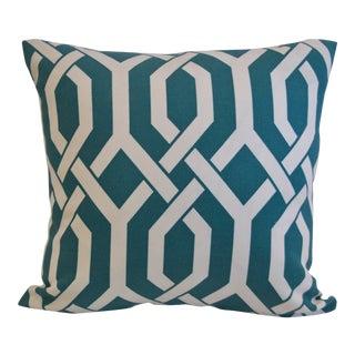 Teal & White Lattice Print Cotton Pillow