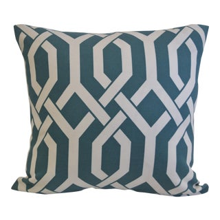 Teal & White Lattice Print Cotton Pillow
