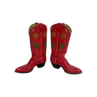 Vintage Ralph Lauren Western Red Cowboy  Boots