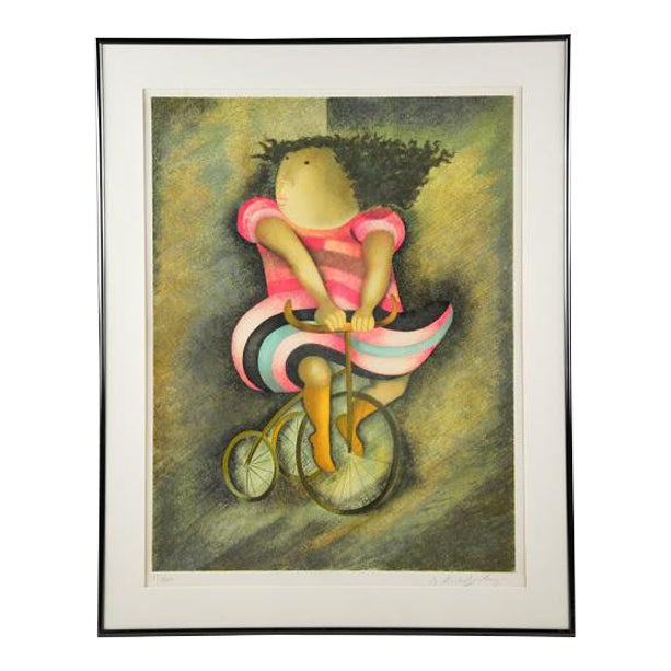 """Limited Lithograph """"Girl on Tricycle"""" by Graciela Rodo Boulanger - Image 1 of 8"""
