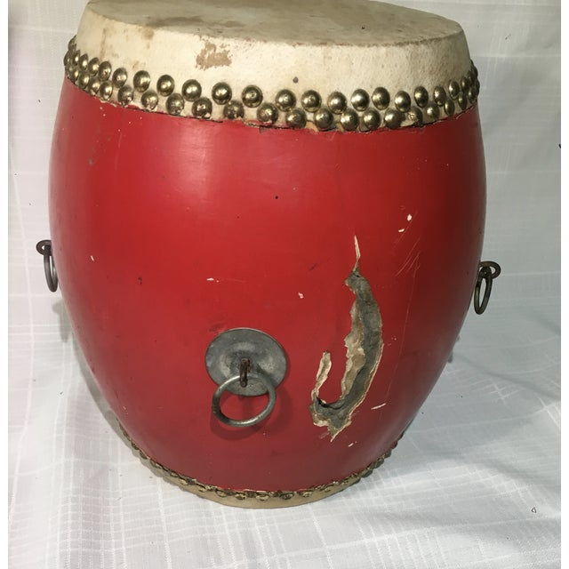 Vintage Red Lacquer Chinese Festival Drum - Image 5 of 5