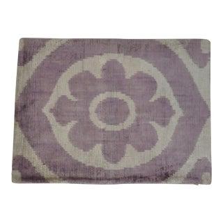 Purple Flower Silk Velvet Ikat Pillow