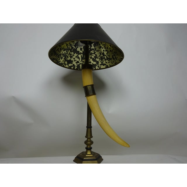 Chapman Faux Tusk Table Lamp with Original Shade - Image 3 of 6