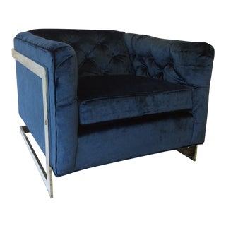 Chrome & Cobalt Silk Velvet Chair
