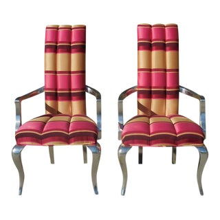 Pink Modern Silver-Leaf Striped Chairs - A Pair
