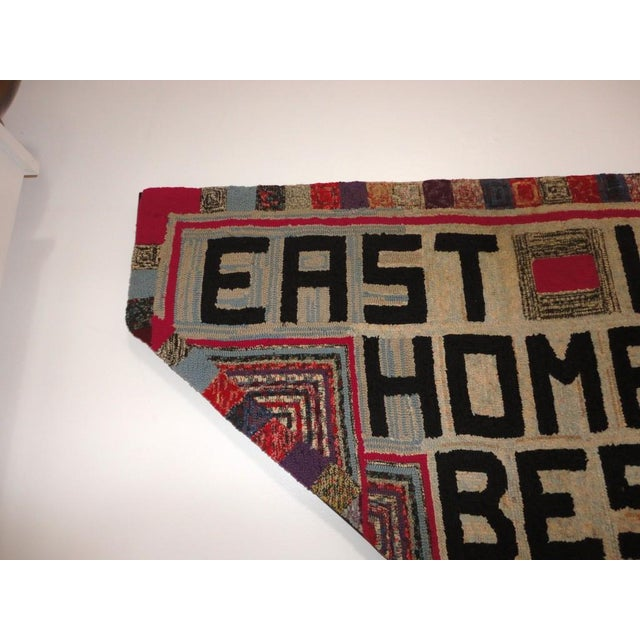 """Hand-Hooked Rug on Mounted Frame """"EAST WEST HOME'S BEST"""" - Image 3 of 7"""