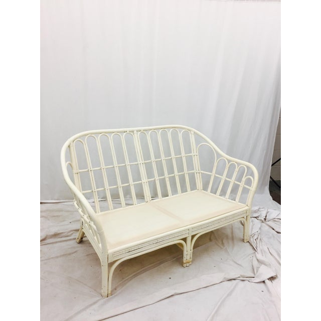 Vintage Rattan Love Seat Sofa - Image 4 of 9