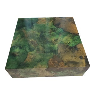 Malachite Green Aldo Tura Died Goatskin Coffee Table