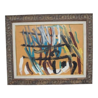 Vintage Abstract Painting in Carved Frame