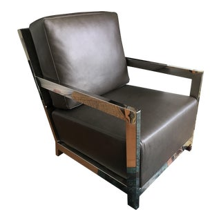 Modern Grey Leather and Chrome Chair