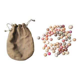 Early 20th C. Marbles & Bag
