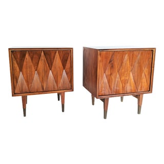 Albert Parvin Diamond Front Sculpural Nightstands - A Pair