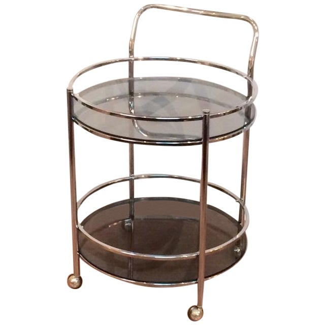Vintage Milo Baughman Style Round Bar Cart - Image 1 of 5