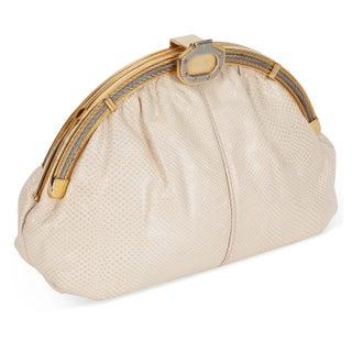 Finesse La Model Cream Leather & Metal Clutch