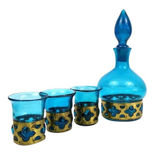 Caged Glass Decanter Set - Set of 4