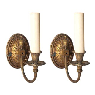 Floral Back Bronze Sconces - A Pair