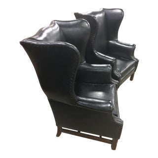 Mid-Century Leather Wingback Chairs - A Pair
