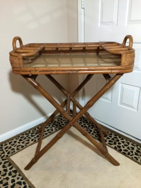 vintage rattan folding mini bar