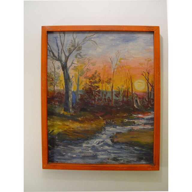 Vintage Painting - Autumn Forest at Sunset - Image 2 of 2