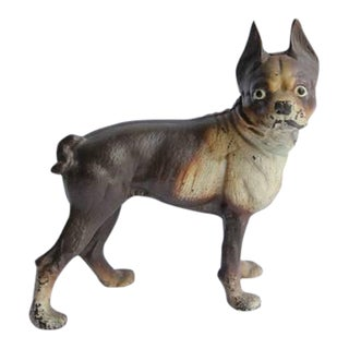 Antique Cast Iron Boston Terrier Dog Doorstop