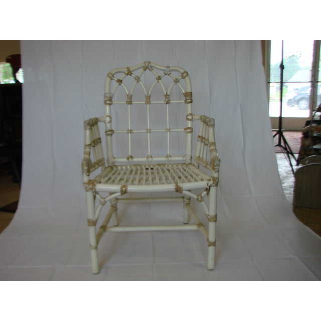 Vintage McGuire Rattan Arm Chairs - Pair - Image 4 of 6