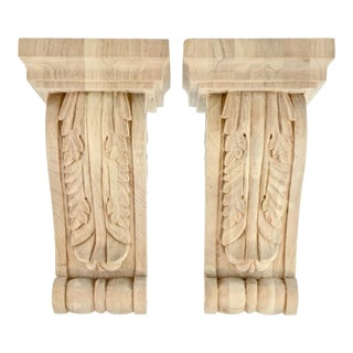 Carved Acanthus Maple Corbels - A Pair