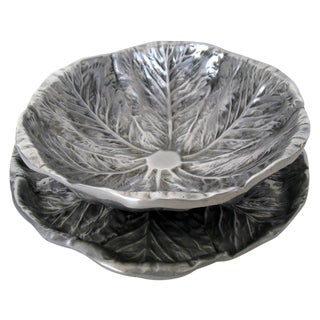 Cabbage Leaf Alloy Serving Pieces - a Pair
